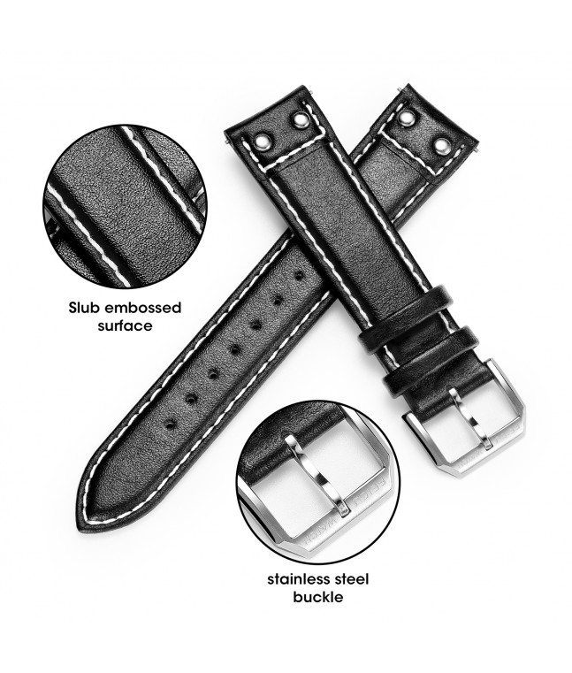 Quick Release Top Genuine Leather Watch Strap